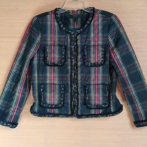 J. Crew quilted lady jacket in Stewart plaid